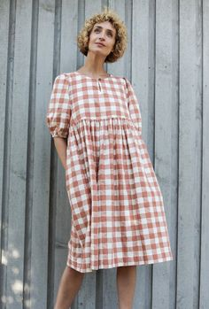 Item: Handmade and made to order Style: Casual Fit: Loose Neckline: Round Sleeves: Three - quarter Hem length: Knee Pockets: Yes Material: Cotton Diy Dress, Dress Up, Indian Designer Outfits, Gathered Skirt, Skirt Outfits, Girly Outfits, Cotton Dresses, Dress To Impress, Dame