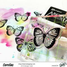 Hi folks! Caroline Elliam with you today to share a canvas I made with coloured stamped images with fabulous Lindy's Stamp Gang products. I was inspired a lot by a card I've seen on Pin…