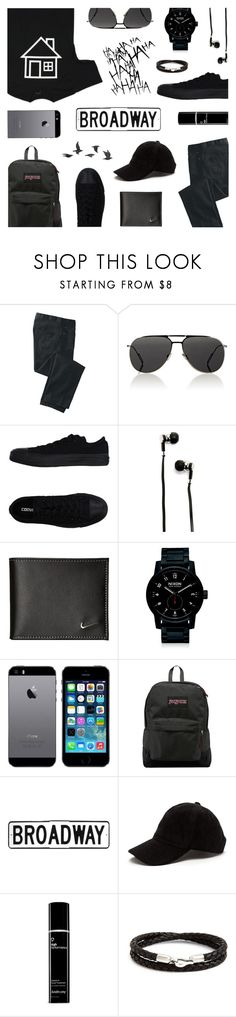 """""""Men's Wear: Black Street Styles"""" by saviraauliap ❤ liked on Polyvore featuring TravelSmith, Christian Dior, Converse, Master & Dynamic, NIKE, Nixon, JanSport, Caputo & Co., Jayson Home and men's fashion"""