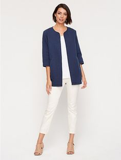 So soft and comfortable. Round Neck 3/4-Sleeve Long Jacket in Channeled Denim