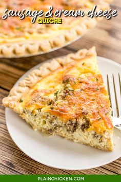 Sausage and Cream Cheese Quiche - so quick and easy. Everyone LOVED this recipe!! Can make ahead and freeze for later. Pie crust, sausage, cream cheese, cheddar cheese, heavy cream, eggs, sour cream and pepper. Ready to eat in an hour. Great for breakfast, lunch or dinner. THE BEST! #quiche #makeahead #sausage Sausage Quiche, Cheese Quiche, Cheddar Cheese, Breakfast Quiche, Breakfast Dishes, Breakfast Recipes, Breakfast Ideas, Freezable Meals, Freezer Meals