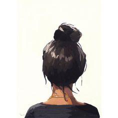 "5x7"" hair art - bun print - ""Top Knot 37"""