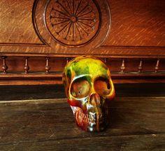 Vintage  AMBER resin SKULL by mytesoros on Etsy, $95.00