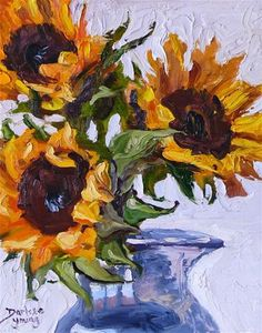 """Daily Paintworks - """"731 Sunflowers Knife Painting"""" - Original Fine Art for Sale - © Darlene Young"""