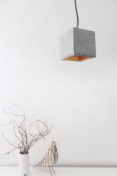 Concrete hanging lamp [B5] lamp gold large minimalist square rare designer lamp