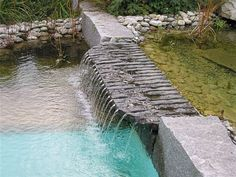 Slate, waterfall to keep water moving