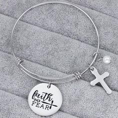 Faith Over Fear Bracelet with Cross - Christian Jewelry - Faith