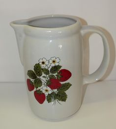 """Sell one like this  Vintage 1970 McCoy 1429 USA RARE Strawberry Milk Pitcher Stoneware 7"""" tall 5 Cup"""