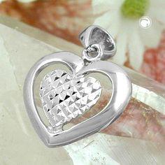 Anhänger, Herz diamantiert, Silber 925