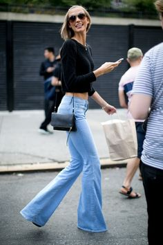 #KarlieKloss #StreetStyle during #NYFW #SS2014, rocking #FRAMEdenim #ForeverKarlie #Flare #Jeans.