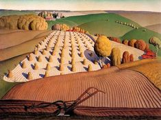 Grant Wood (American, 1891 - Fall Plowing, oil on canvas, courtesy of the John Deere Art Collection. Scenery Paintings, Landscape Paintings, Landscapes, Landscape Art, Summer Landscape, Art Paintings, Claude Monet, Grant Wood Paintings, Art Grants
