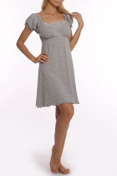 Grenier Chemise With Butterfly Lace In Heather Gray. Cute!