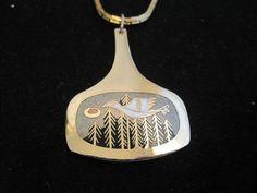 Vintage de Passille-Sylvestre Modernist Enamel Pendant Necklace Canada Rare