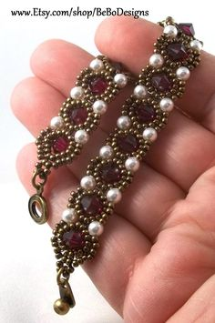 Swarovski Crystal and Pearl Bead Woven Bracelet/Seed Bead Bracelet/Princess Bracelet/Ruby and Pearl Bracelet/July Birthstone Bracelet , Bead Jewellery, Crystal Jewelry, Beaded Jewelry, Beaded Necklace, Pendant Necklace, Woven Bracelets, Seed Bead Bracelets, Pearl Bracelet, Swarovski Bracelet