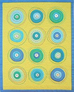 circle love. Like the big stitch quilting   Bella solids @ModaFabrics