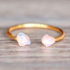 Gold Little Raw Opal Ring   Bohemian Gypsy Jewels   Indie and Harper