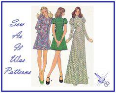 1970s Womens Mini Maxi Dresses Back Ties by SewAsItWasPatterns