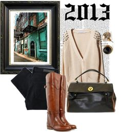 Riding boots + Black skinny jeans + Sweater + YSL handbag    www.queenbeeofbeverlyhills.com