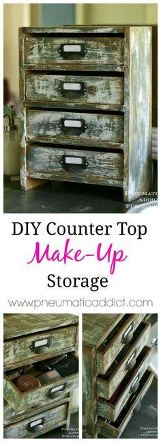 DIY Counter Top Make-Up Storage: www.pneumaticaddict.com