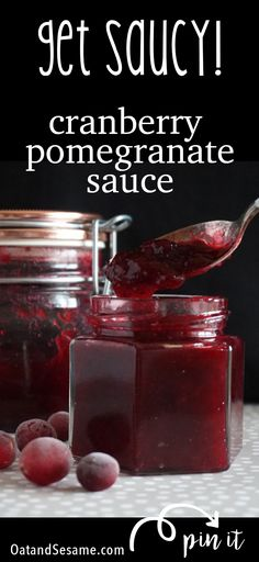 Cranberry Pomegranate Sauce - an easy cranberry sauce for your turkey day traditions. This sauce adds a little twist of pomegranate + orange to make this an extra yummy holiday sauce tradition |  #CRANBERRIES | #SAUCE | #THANKSGIVING | #Recipes at OatandSesame.com