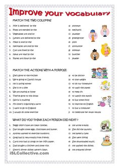 This worksheet for English Language Learners improves vocabulary and allows them a large variety of professions, activities, and sequences. This would be for students who are progressing quickly and are farther along in their English studies. English Study, English Words, English Lessons, English Grammar, Teaching English, Learn English, English English, English Language Learners, Grammar And Vocabulary