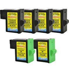 InkGrabber.com 6 Pack - Remanufactured Lexmark 16, 26 (10N0016, 10N0026) Includes 4 Black and 2 Color (Compaq IJ 652, Lexmark X 75, Lexmark X 1150, Lexmark X 1185, Lexmark X 1270, Lexmark X 2250, Lexmark Z 13, Lexmark Z 23, Lexmark Z 25, Lexmark Z 33, Lexmark Z 35, Lexmark Z 515, Lexmark Z 605, Lexmark Z 611, Lexmark Z 615, Lexmark Z 645, Compaq IJ 650, Lexmark X 1100, Lexmark X 1240, Lexmark Z 517, Lexmark Z 600, Lexmark Other I3)