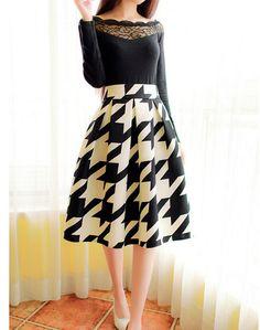 2015 Vintage saias das mulheres saia plissada senhoras da moda coreano a linha de balanço grande impressão floral na altura do joelho saia de cintura alta em Saias de Roupas e Acessórios Femininos no AliExpress.com   Alibaba Group