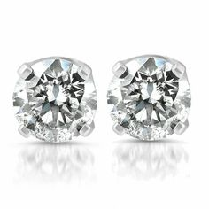 0efc06962 14k White Gold Over 2.00 Carat Round Diamond 4-Prong Studs Solitaire  Earrings #GIA_Diamonds
