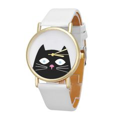 Black Cat Watch This black faux leather watch features gold tones and a cat  on the face! Bundle discount available! 🍍Suggested User! f5b0fa5cf9