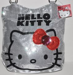 from eBay · HELLO KITTY SEQUINS PURSE SILVER TOTE SHOULDER BAG SANRIO NWT  AUTHENTIC USA SELL 3661655806