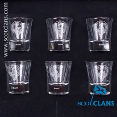 Boxed set of six dram glasses with Scott Clan Crest - from ScotClans
