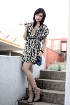 Olvera Street Trendy Mod Print Blouson Day Dress