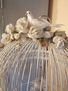Birdcages are beautiful centerpieces for a wedding. you can do so many things with them. add floral to them put silk birds in them you could fill them with vintage items like a clock, a piece of sheet music some ribbon. let your imagination run wild........
