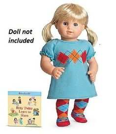American Girl Bitty Baby Twins Holiday Polka Dot Day Dress Outfit~Book~Clothes