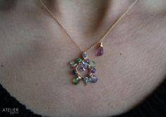 Multi Gem Wire Wrapped Goldfilled Necklace by ATELIERGabyMarcos, $85.00