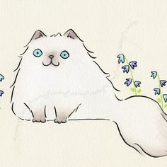 Original 8x6 Watercolor - Pale Himalayan Persian Cat with Blue Flowers