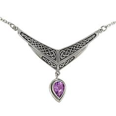 Sterling Silver Amethyst Drop Celtic Knot Irish Collar Necklace Jewelry ** Click image for more details.