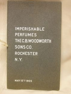 Vintage 1905 Imperishable Perfumes Advertising Pictures C. B. Woodworth Sons Co #CBWoodworthSonsCompany