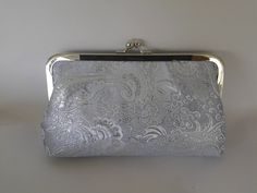 light blue silver brocade wedding summer evening prom bridal clutch purse BBsCustomClutches by BBsCustomClutches on Etsy