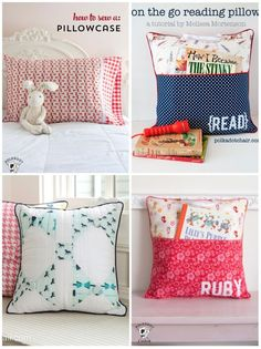 A Free Sewing pattern for a pocket pillow, a DIY reading pillow for kids, pattern for an on the go reading pillow, Summer projects for kids