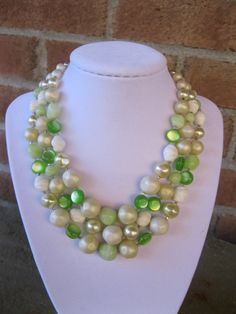 Green and White 3 Strand Necklace Vintage by GotMilkGlassAndMore, $10.95