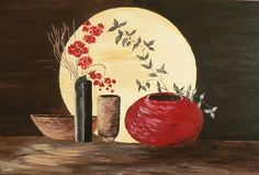 Moonlight still life print, Red orchid art, brown, red, black vase, Fine art print orchids, silver leaves, Red bowl in the light