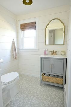 Soft grey bathroom with shiplap and cement tiles - tons of charm!