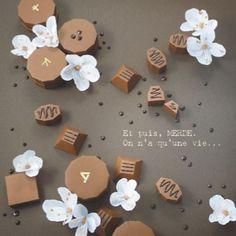 Paper cut chocolat  Carte Magali FOURNIER Et puis...Merde ! 14x14cm