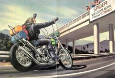 """David Mann motorcycle art print featuring a warm welcome home! -A vintage 1980s David Mann magazine centerfold -Measures: 11"""" x 16"""", original size -Original, not a reproduction -Does not include frame"""