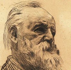 Portrait of Victor Hugo, Dry point // by Rodin