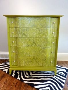 super rad vintage dresser- like the treatment but maybe a different color. not the rug Hand Painted Furniture, Funky Furniture, Refurbished Furniture, Paint Furniture, Repurposed Furniture, Furniture Projects, Furniture Making, Furniture Makeover, Vintage Furniture