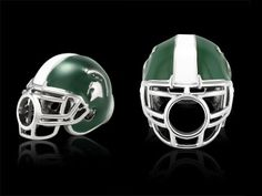 GW51Z0485 - Polished stainless steel Michigan State University football helmet bead. Available at www.belizadesign.com