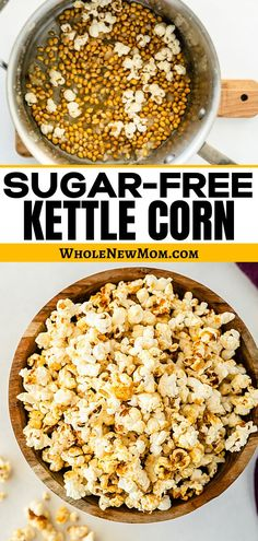 Everyone loves kettle corn. Make this healthy sugar free version of kettle corn with this easy recipe. Yummy Healthy Snacks, Healthy Sugar, Healthy Snacks For Kids, Easy Snacks, Easy Healthy Recipes, Real Food Recipes, Vegan Recipes, Easy Meals, Basic Butter Cookies Recipe