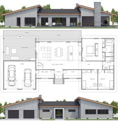 Home Plan, House Plans, Floor Plans Barn House Plans, New House Plans, Dream House Plans, Modern House Plans, Small House Plans, Modern House Design, House Floor Plans, Casas Containers, Custom Home Plans
